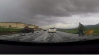Una granizada en la carretera de Villena causó un espectacular accidente