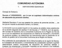 Ciudadanos muestra el documento de la Consejería para el cierre de la escuela de adultos