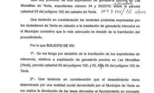 El promotor renuncia a uno de los proyectos de granja de cerdos en Las Moratillas